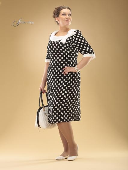 Платье в горошек для женщин полных женщин